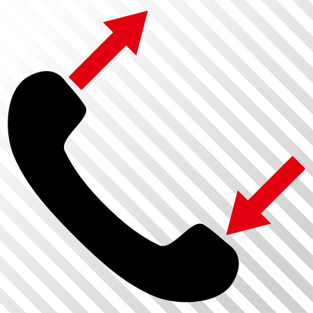 phone talking: Phone Talking vector icon. Image style is a flat intensive red and black iconic symbol on a hatch diagonal transparent background.