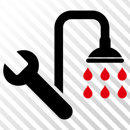 Plumbing vector icon. Image style is a flat intensive red and black iconic symbol on a hatch diagonal transparent background.