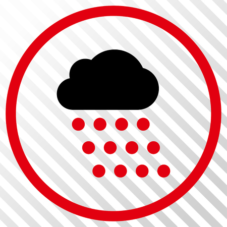 watery: Rain Cloud vector icon. Image style is a flat intensive red and black iconic symbol on a hatch diagonal transparent background.