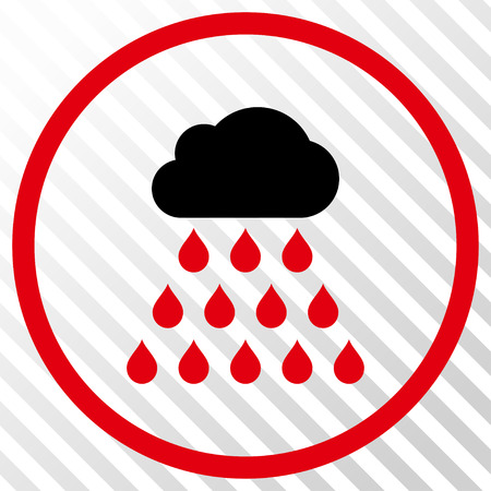 Rain Cloud vector icon. Image style is a flat intensive red and black icon symbol on a hatch diagonal transparent background. Illustration