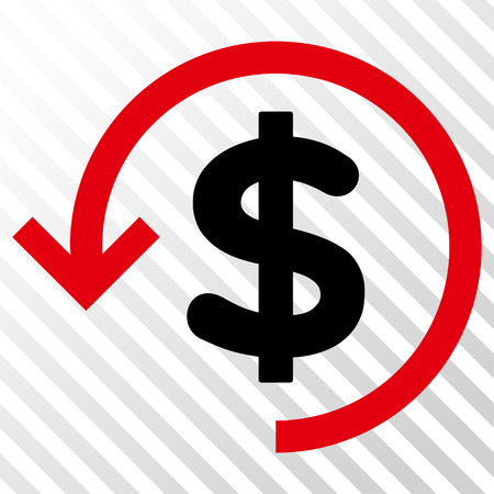 Refund vector icon. Image style is a flat intensive red and black pictograph symbol on a hatch diagonal transparent background.