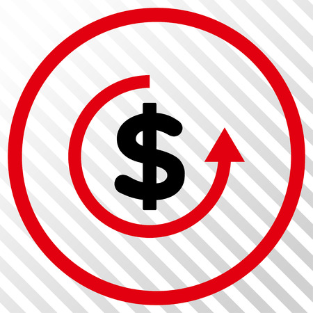 moneyback: Refund vector icon. Image style is a flat intensive red and black icon symbol on a hatch diagonal transparent background.
