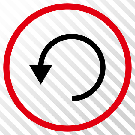 Rotate CCW vector icon. Image style is a flat intensive red and black icon symbol on a hatch diagonal transparent background. Illustration