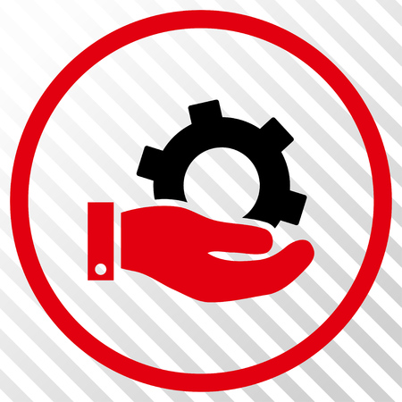 Service vector icon. Image style is a flat intensive red and black pictograph symbol on a hatch diagonal transparent background. Illustration