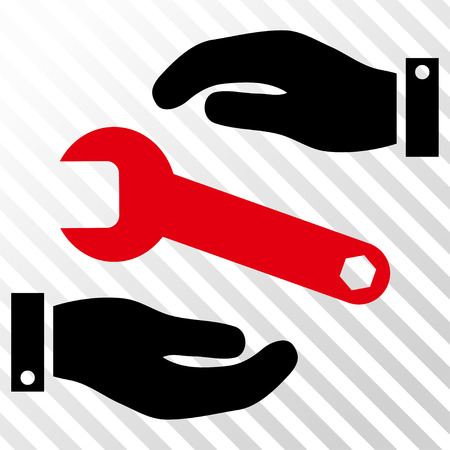 config: Service vector icon. Image style is a flat intensive red and black pictogram symbol on a hatch diagonal transparent background.