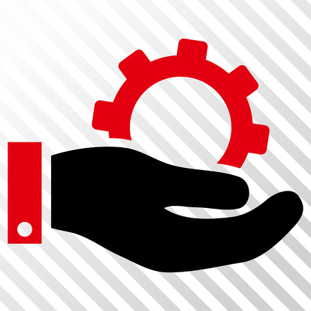 Service vector icon. Image style is a flat intensive red and black pictogram symbol on a hatch diagonal transparent background.
