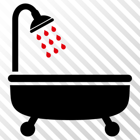 shower bath: Shower Bath vector icon. Image style is a flat intensive red and black pictogram symbol on a hatch diagonal transparent background.