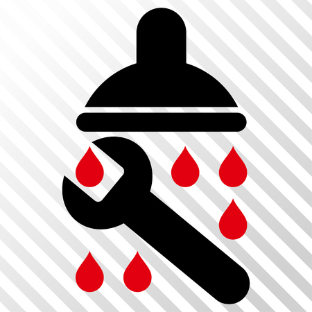 leaking: Shower Plumbing vector icon. Image style is a flat intensive red and black iconic symbol on a hatch diagonal transparent background.