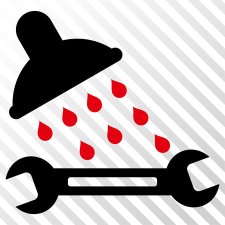 Shower Plumbing vector icon. Image style is a flat intensive red and black pictogram symbol on a hatch diagonal transparent background.