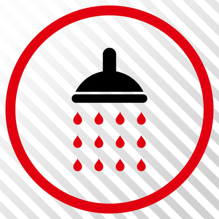 Shower vector icon. Image style is a flat intensive red and black pictograph symbol on a hatch diagonal transparent background.