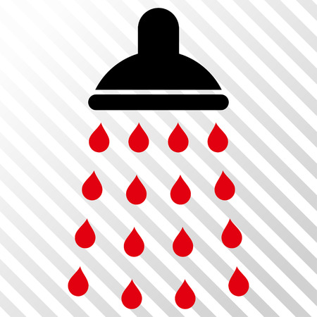 intensive: Shower vector icon. Image style is a flat intensive red and black pictogram symbol on a hatch diagonal transparent background. Illustration