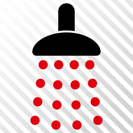 antiseptic: Shower vector icon. Image style is a flat intensive red and black icon symbol on a hatch diagonal transparent background. Illustration
