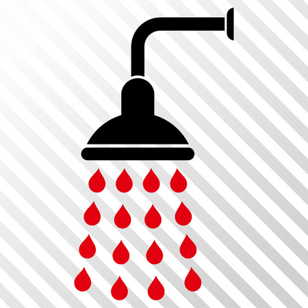 intensive: Shower vector icon. Image style is a flat intensive red and black pictograph symbol on a hatch diagonal transparent background.