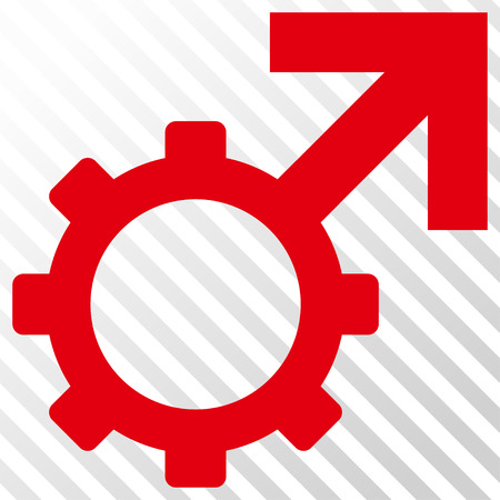 Technological Potence vector icon. Image style is a flat intensive red and black pictogram symbol on a hatch diagonal transparent background.
