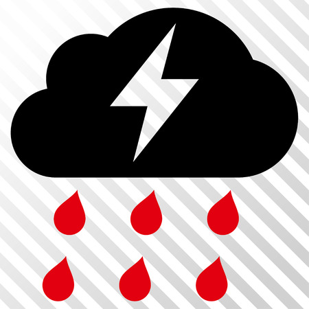 Thunderstorm vector icon. Image style is a flat intensive red and black pictogram symbol on a hatch diagonal transparent background.