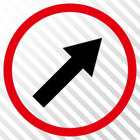 upright: Up-Right Rounded Arrow vector icon. Image style is a flat intensive red and black icon symbol on a hatch diagonal transparent background. Illustration
