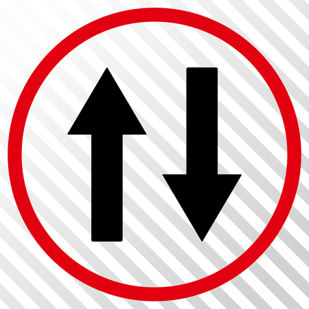 inverse: Vertical Flip Arrows vector icon. Image style is a flat intensive red and black pictogram symbol on a hatch diagonal transparent background.
