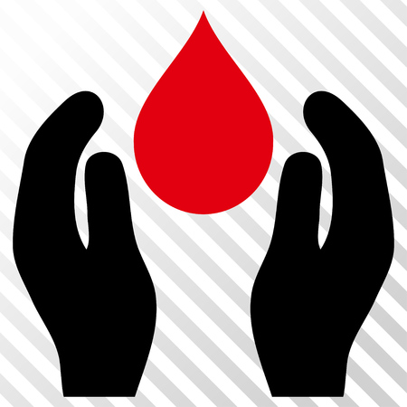 intensive care: Water Care vector icon. Image style is a flat intensive red and black pictograph symbol on a hatch diagonal transparent background.