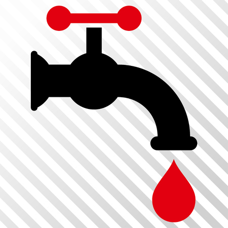 Water Tap vector icon. Image style is a flat intensive red and black pictograph symbol on a hatch diagonal transparent background. Illustration