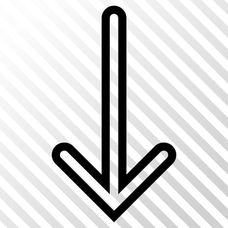 Arrow Down vector icon. Image style is a flat black iconic symbol on a hatch diagonal transparent background.