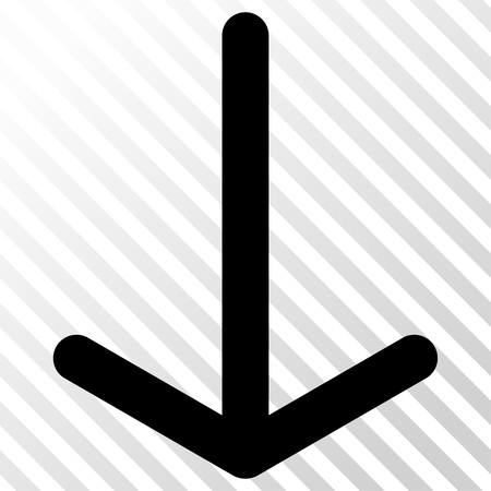 failing: Arrow Down vector icon. Image style is a flat black icon symbol on a hatch diagonal transparent background. Illustration