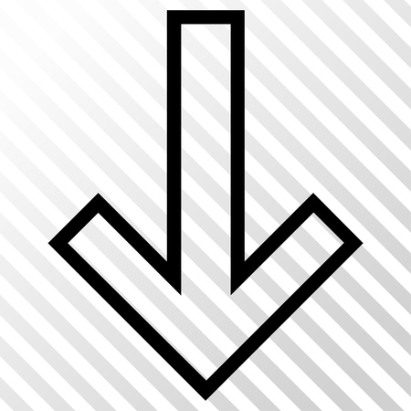 the hatch: Arrow Down vector icon. Image style is a flat black pictograph symbol on a hatch diagonal transparent background.