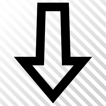 the hatch: Arrow Down vector icon. Image style is a flat black pictogram symbol on a hatch diagonal transparent background.