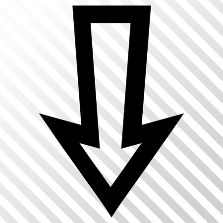 hatch: Arrow Down vector icon. Image style is a flat black icon symbol on a hatch diagonal transparent background. Illustration