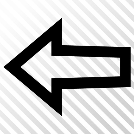the hatch: Arrow Left vector icon. Image style is a flat black icon symbol on a hatch diagonal transparent background. Illustration