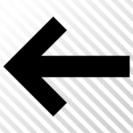 the hatch: Arrow Left vector icon. Image style is a flat black iconic symbol on a hatch diagonal transparent background. Illustration
