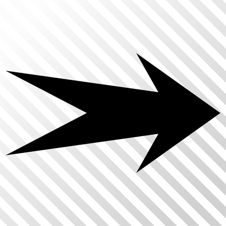 Arrow Right vector icon. Image style is a flat black pictograph symbol on a hatch diagonal transparent background.