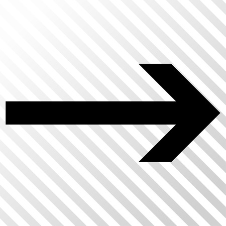 Arrow Right vector icon. Image style is a flat black pictogram symbol on a hatch diagonal transparent background.
