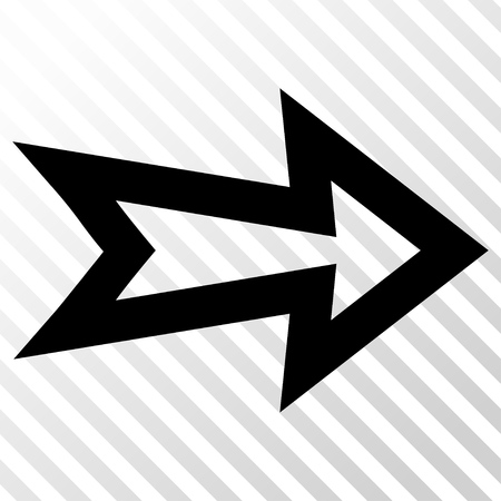 hatch: Arrow Right vector icon. Image style is a flat black pictogram symbol on a hatch diagonal transparent background.