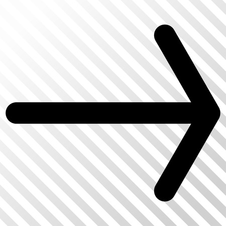 Arrow Right vector icon. Image style is a flat black icon symbol on a hatch diagonal transparent background.