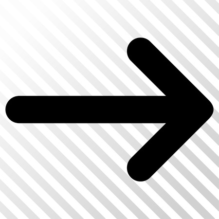 Arrow Right vector icon. Image style is a flat black iconic symbol on a hatch diagonal transparent background. Illustration