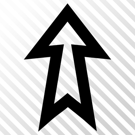 move: Arrow Up vector icon. Image style is a flat black pictogram symbol on a hatch diagonal transparent background.