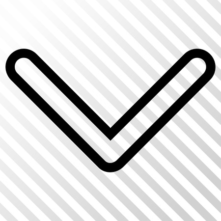 arrowhead: Arrowhead Down vector icon. Image style is a flat black pictograph symbol on a hatch diagonal transparent background.