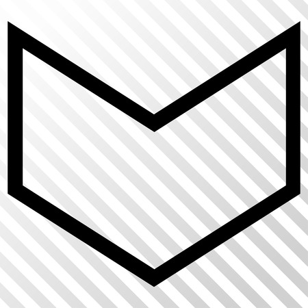 arrowhead: Arrowhead Down vector icon. Image style is a flat black pictogram symbol on a hatch diagonal transparent background.