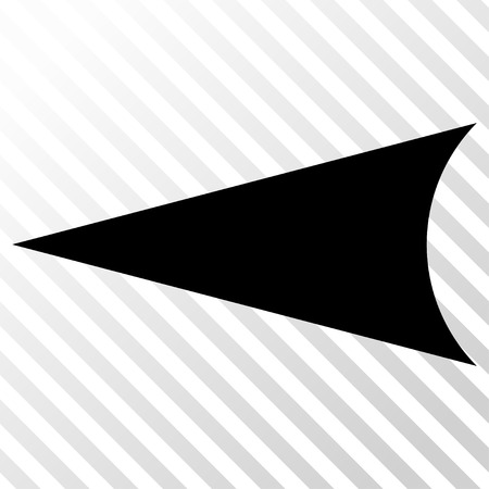 hatch: Arrowhead Left vector icon. Image style is a flat black icon symbol on a hatch diagonal transparent background. Illustration
