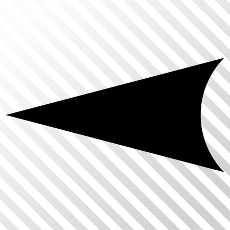 arrowhead: Arrowhead Left vector icon. Image style is a flat black icon symbol on a hatch diagonal transparent background. Illustration