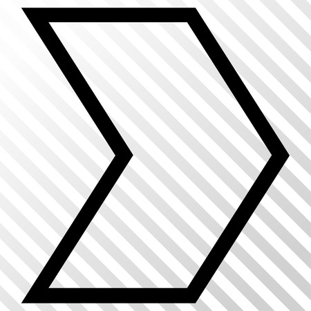 arrowhead: Arrowhead Right vector icon. Image style is a flat black icon symbol on a hatch diagonal transparent background.