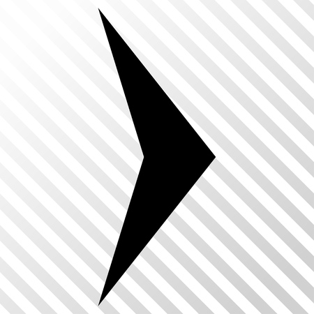 hatch: Arrowhead Right vector icon. Image style is a flat black iconic symbol on a hatch diagonal transparent background.