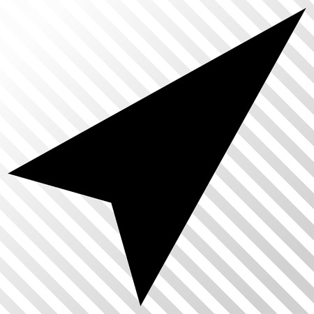northeast: Arrowhead Right-Up vector icon. Image style is a flat black icon symbol on a hatch diagonal transparent background.