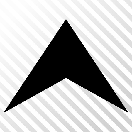 hatch: Arrowhead Up vector icon. Image style is a flat black pictograph symbol on a hatch diagonal transparent background.