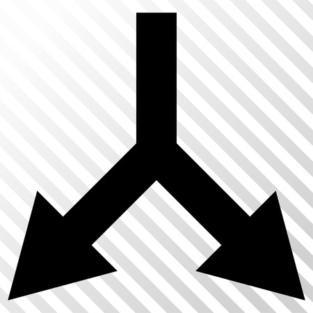 bifurcation: Bifurcation Arrow Down vector icon. Image style is a flat black icon symbol on a hatch diagonal transparent background.