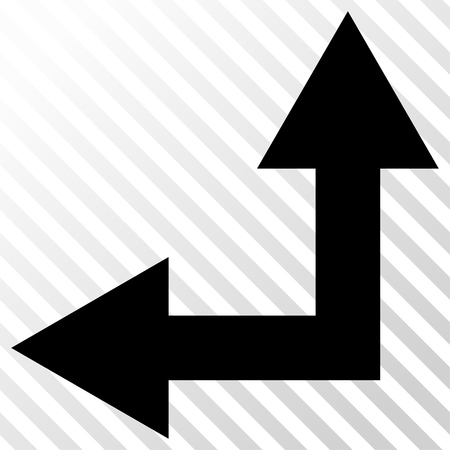 hatch: Bifurcation Arrow Left Up vector icon. Image style is a flat black icon symbol on a hatch diagonal transparent background. Illustration