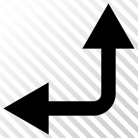 bifurcation: Bifurcation Arrow Left Up vector icon. Image style is a flat black pictogram symbol on a hatch diagonal transparent background. Illustration