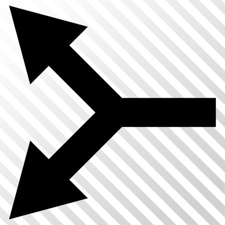 bifurcation: Bifurcation Arrow Left vector icon. Image style is a flat black iconic symbol on a hatch diagonal transparent background. Illustration