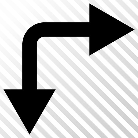 bifurcation: Bifurcation Arrow Right Down vector icon. Image style is a flat black pictograph symbol on a hatch diagonal transparent background. Illustration