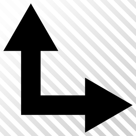 bifurcation: Bifurcation Arrow Right Up vector icon. Image style is a flat black iconic symbol on a hatch diagonal transparent background.